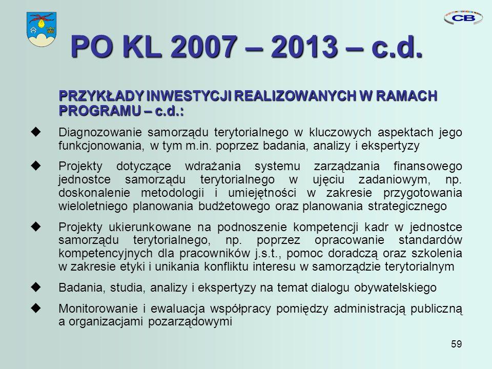 59 PO KL 2007 – 2013 – c.d.