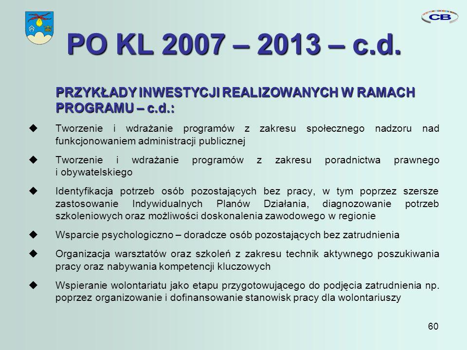 60 PO KL 2007 – 2013 – c.d.