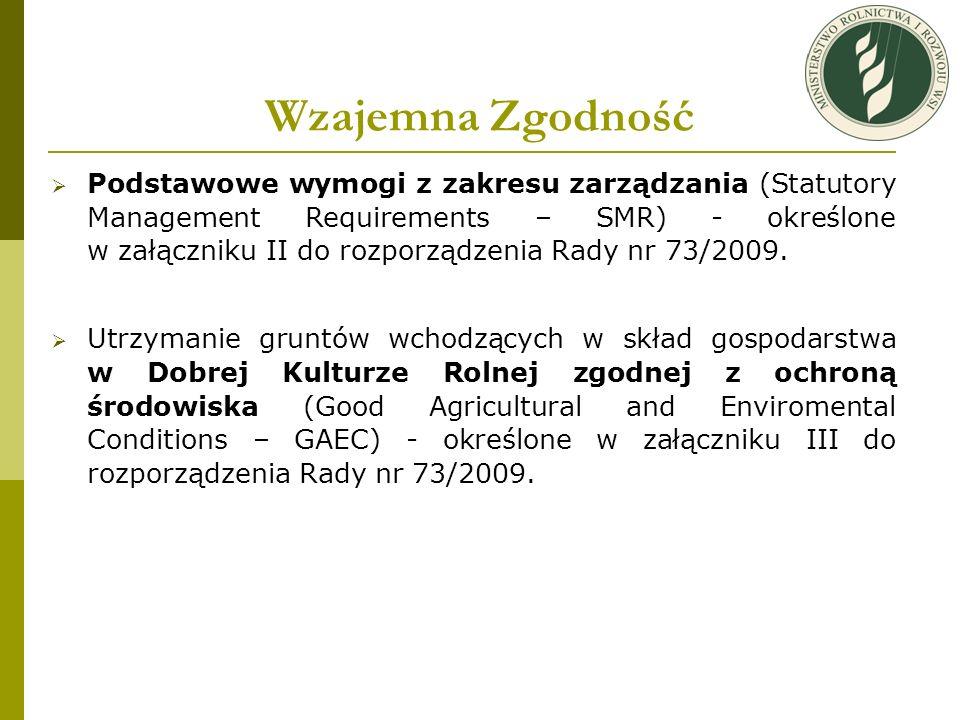 Wzajemna Zgodność Podstawowe wymogi z zakresu zarządzania (Statutory Management Requirements – SMR) - określone w załączniku II do rozporządzenia Rady