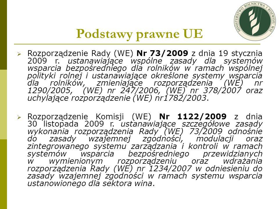 Podstawy prawne UE Rozporządzenie Rady (WE) Nr 73/2009 z dnia 19 stycznia 2009 r. ustanawiające wspólne zasady dla systemów wsparcia bezpośredniego dl
