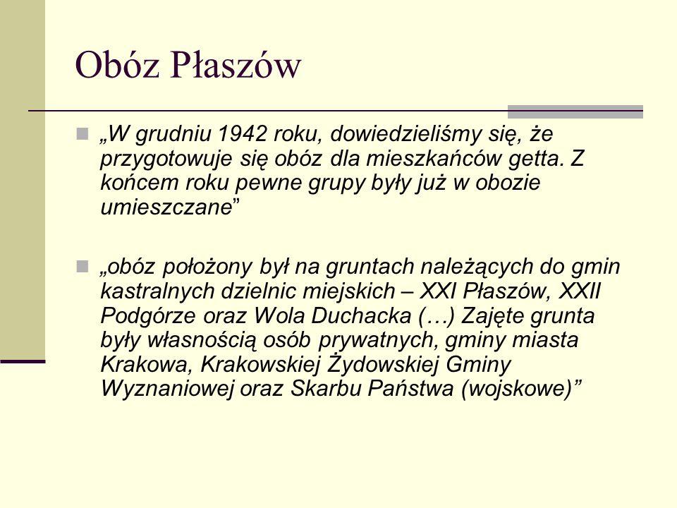 Obóz Płaszów W grudniu 1942 roku, dowiedzieliśmy się, że przygotowuje się obóz dla mieszkańców getta. Z końcem roku pewne grupy były już w obozie umie