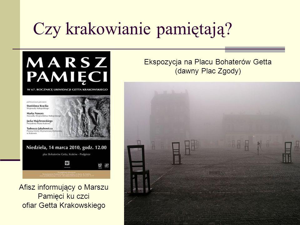 Czy krakowianie pamiętają? Ekspozycja na Placu Bohaterów Getta (dawny Plac Zgody) Afisz informujący o Marszu Pamięci ku czci ofiar Getta Krakowskiego