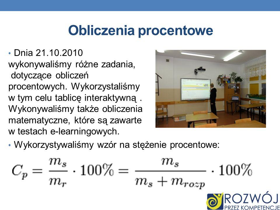 Obliczenia procentowe Dnia 21.10.2010 wykonywaliśmy różne zadania, dotyczące obliczeń procentowych.