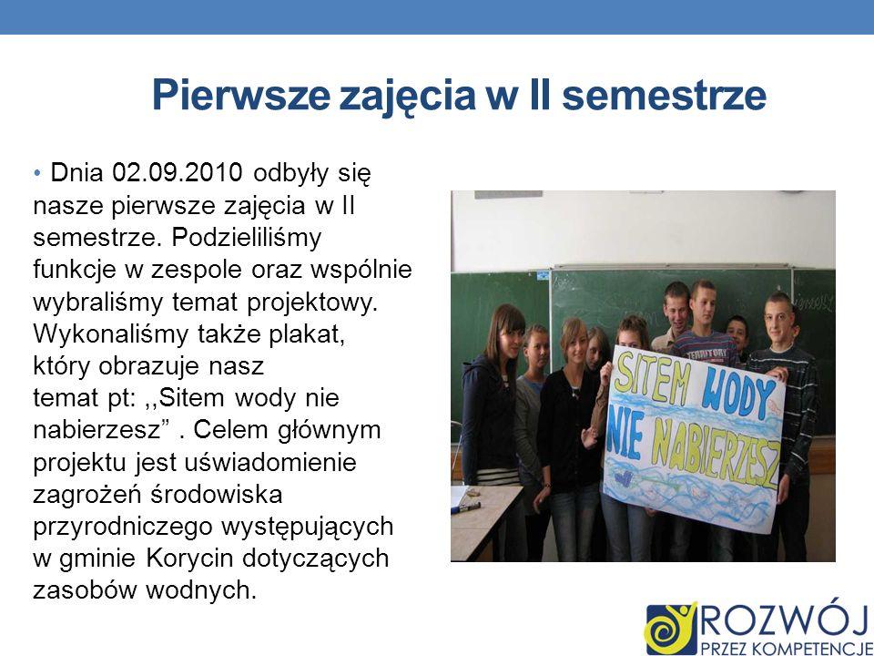 Pierwsze zajęcia w II semestrze Dnia 02.09.2010 odbyły się nasze pierwsze zajęcia w II semestrze.