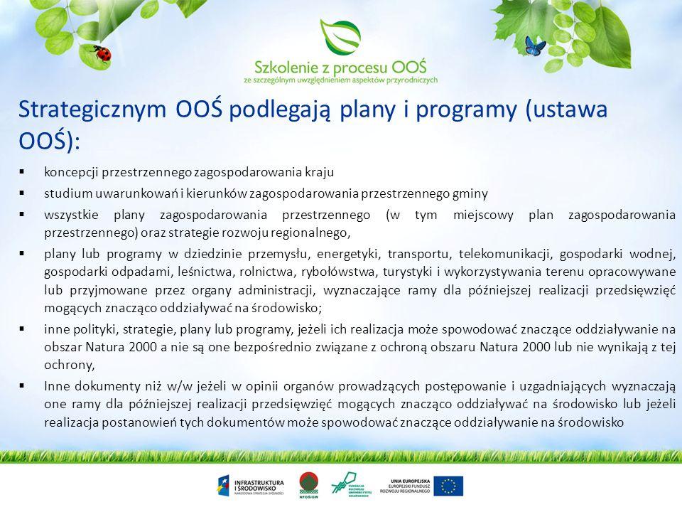 Strategicznym OOŚ podlegają plany i programy (dyrektywa SEA): przygotowane dla rolnictwa, leśnictwa, rybołówstwa, energetyki, przemysłu, transportu, g