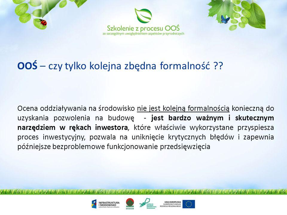Wniosek o wydanie dowolnej decyzji administracyjnej W przypadku identyfikacji możliwości oddziaływania na obszary Natura 2000 organ wydaje postanowienie obligujące wnioskodawcę do przedstawienia dokumentów RDOŚ RDOŚ wydaje postanowienie o konieczności wykonania OOŚ na obszary Natura 2000 i zakresie raportu Organ wydaje decyzję o którą obiegał się wnioskodawca RDOŚ odmawia uzgodnienia warunków realizacji przedsięwzięcia RDOŚ wydaje postanowienie o braku konieczności wykonania OOŚ na obszary Natura 2000 Organ analizuje dokumenty w zakresie możliwości oddziaływani na obszary Natura 2000 RDOŚ analizuje dokumenty w zakresie możliwości oddziaływani na obszary Natura 2000 Udział społeczny RDOŚ analizuje dostarczony Raport o oddziaływaniu na obszary Natura 2000 RDOŚ uzgadnia warunki realizacji przedsięwzięcia Organ wydaje decyzję o którą obiegał się wnioskodawca