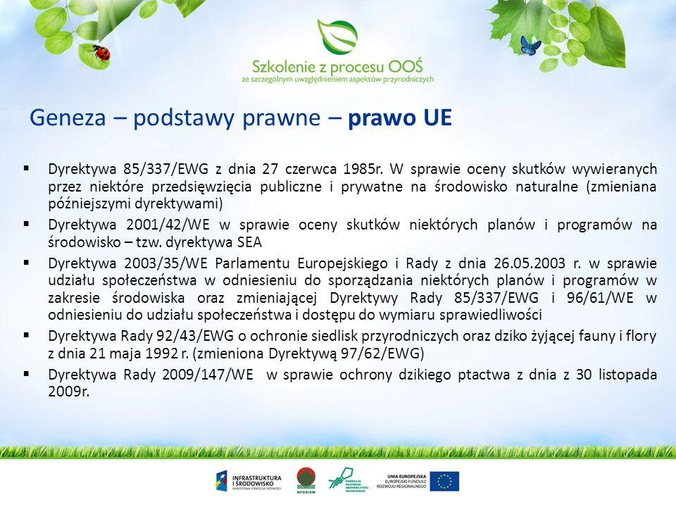 Geneza – podstawy prawne – prawo UE Dyrektywa 85/337/EWG z dnia 27 czerwca 1985r.