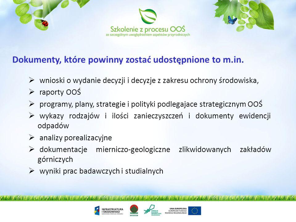 stanu poszczególnych elementów środowiska, emisji i zanieczyszczeń, środków administracyjnych, przepisów, planów, polityk, programów, porozumień oraz