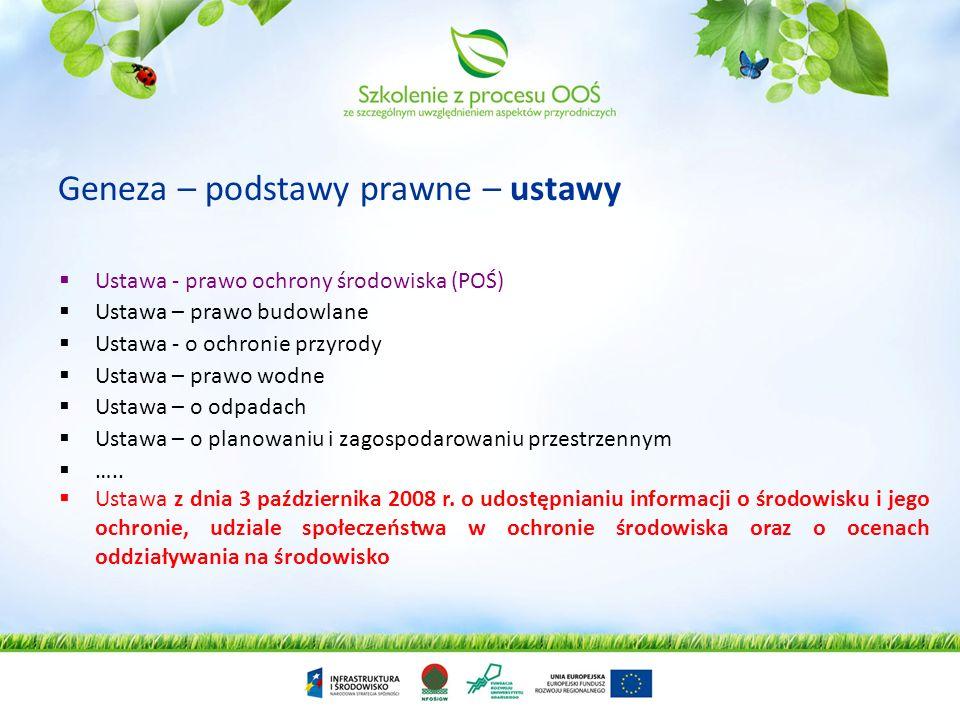 Informacja o środowisku a udział społeczny u udział stron w postępowaniach OOŚ Uprawnienia społeczeństwa do dostępu do informacji o środowisku określa art.