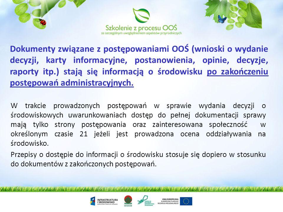Informacje o środowisku muszą udostępnić władze publiczne oraz inne podmioty wykonujące zadania publiczne, w szczególności: organy władzy publicznej,