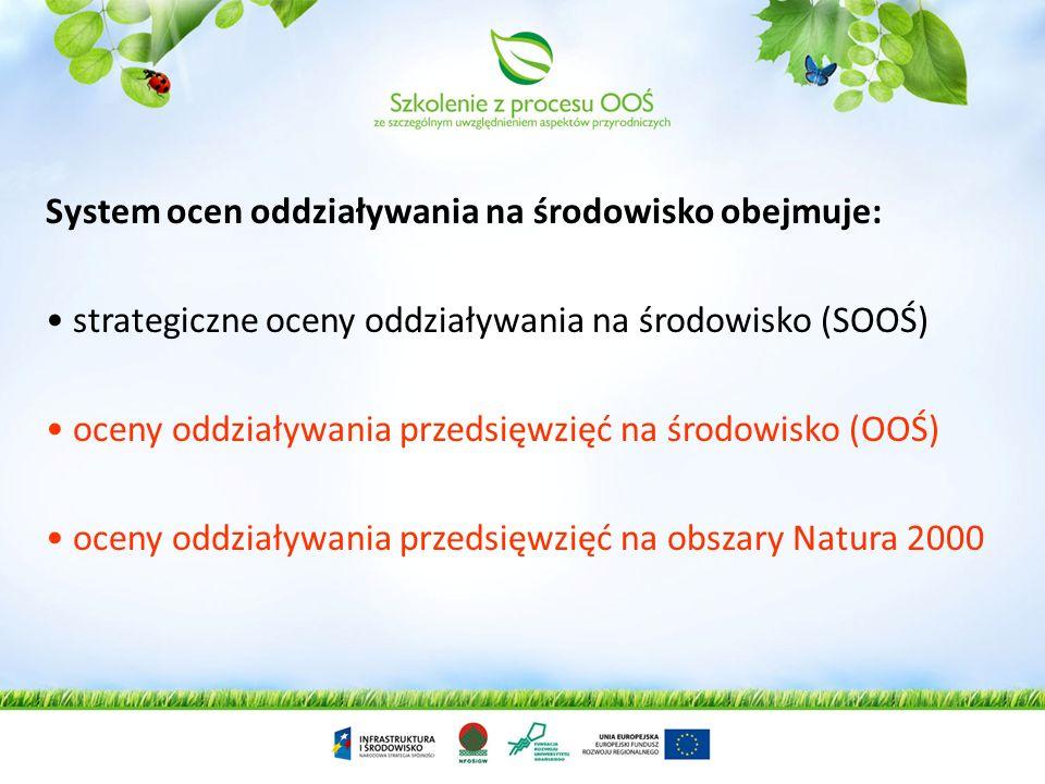System ocen oddziaływania na środowisko obejmuje: strategiczne oceny oddziaływania na środowisko (SOOŚ) oceny oddziaływania przedsięwzięć na środowisko (OOŚ) oceny oddziaływania przedsięwzięć na obszary Natura 2000