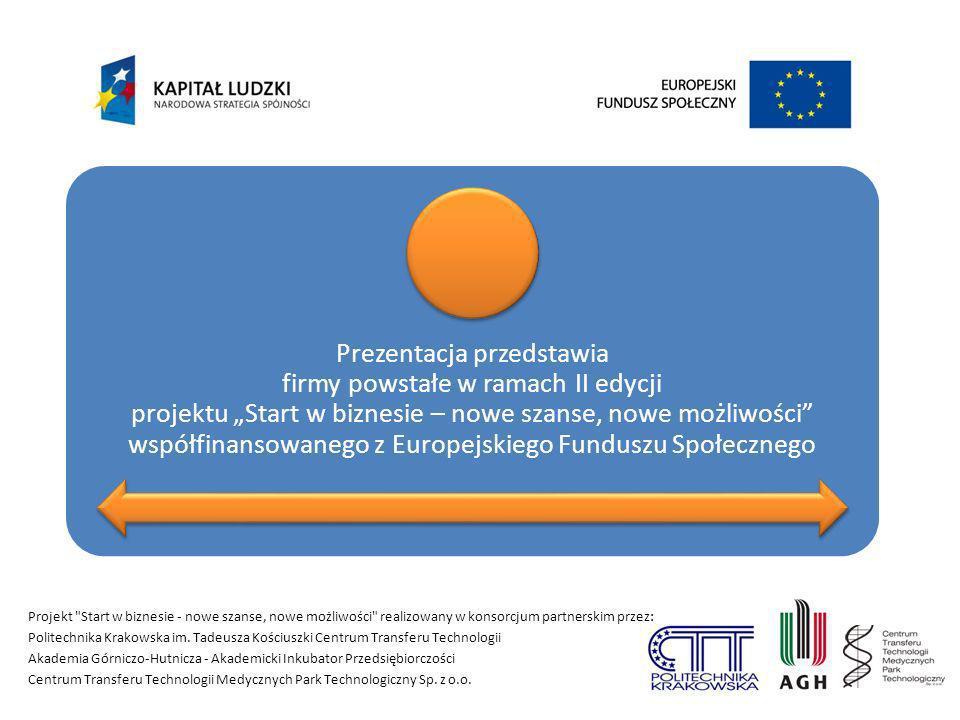 Prezentacja przedstawia firmy powstałe w ramach II edycji projektu Start w biznesie – nowe szanse, nowe możliwości współfinansowanego z Europejskiego