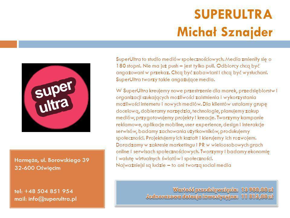 SUPERULTRA Michał Sznajder Harmęże, ul. Borowskiego 39 32-600 Oświęcim tel: +48 504 851 954 mail: info@superultra.pl SuperUltra to studio mediów społe