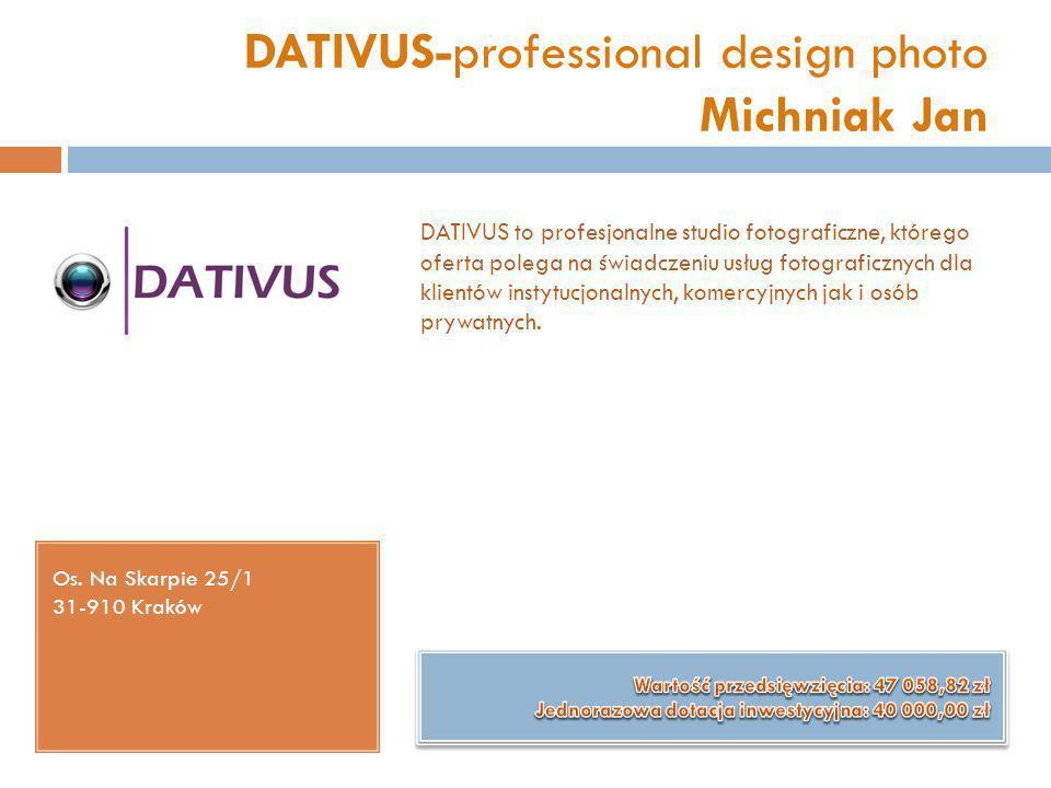 DATIVUS-professional design photo Michniak Jan Os. Na Skarpie 25/1 31-910 Kraków DATIVUS to profesjonalne studio fotograficzne, którego oferta polega