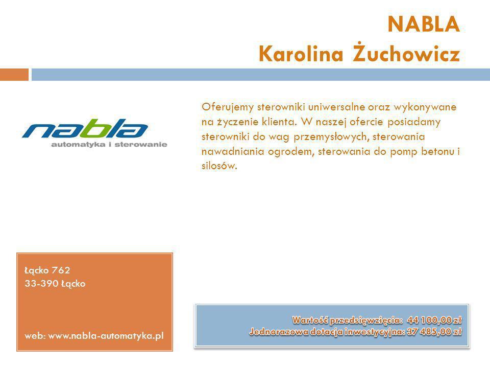 NABLA Karolina Żuchowicz Łącko 762 33-390 Łącko web: www.nabla-automatyka.pl Oferujemy sterowniki uniwersalne oraz wykonywane na życzenie klienta. W n