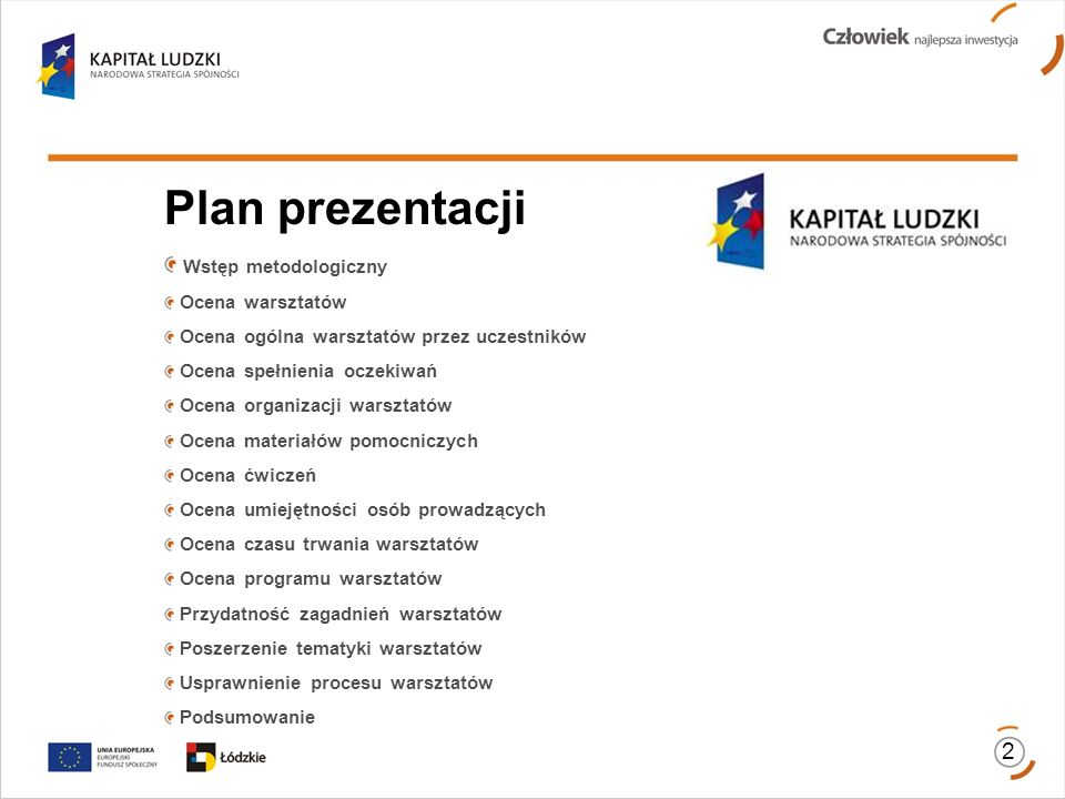 Plan prezentacji Wstęp metodologiczny Ocena warsztatów Ocena ogólna warsztatów przez uczestników Ocena spełnienia oczekiwań Ocena organizacji warsztat