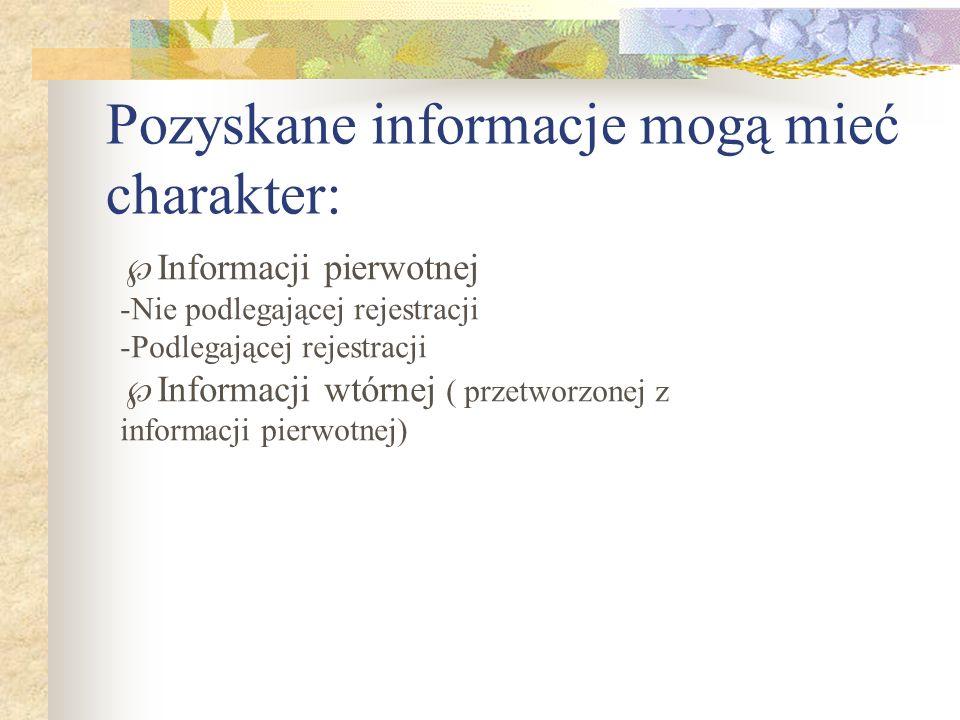 Pozyskane informacje mogą mieć charakter: Informacji pierwotnej -Nie podlegającej rejestracji -Podlegającej rejestracji Informacji wtórnej ( przetworz