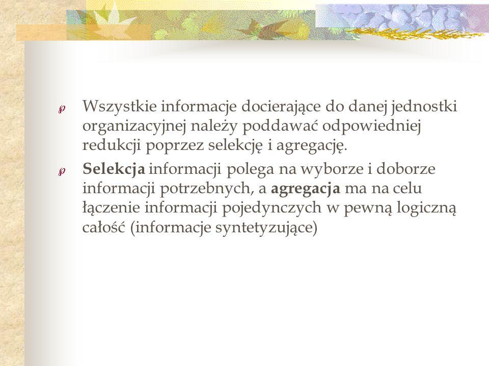 Wszystkie informacje docierające do danej jednostki organizacyjnej należy poddawać odpowiedniej redukcji poprzez selekcję i agregację. Selekcja inform