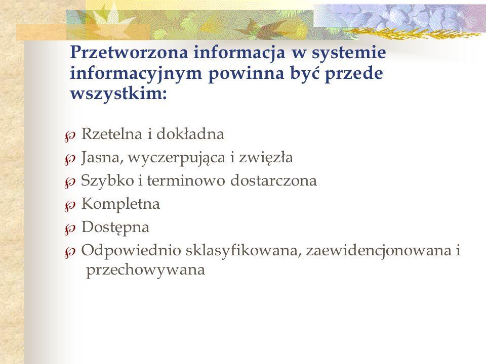 Rzetelna i dokładna Jasna, wyczerpująca i zwięzła Szybko i terminowo dostarczona Kompletna Dostępna Odpowiednio sklasyfikowana, zaewidencjonowana i przechowywana Przetworzona informacja w systemie informacyjnym powinna być przede wszystkim: