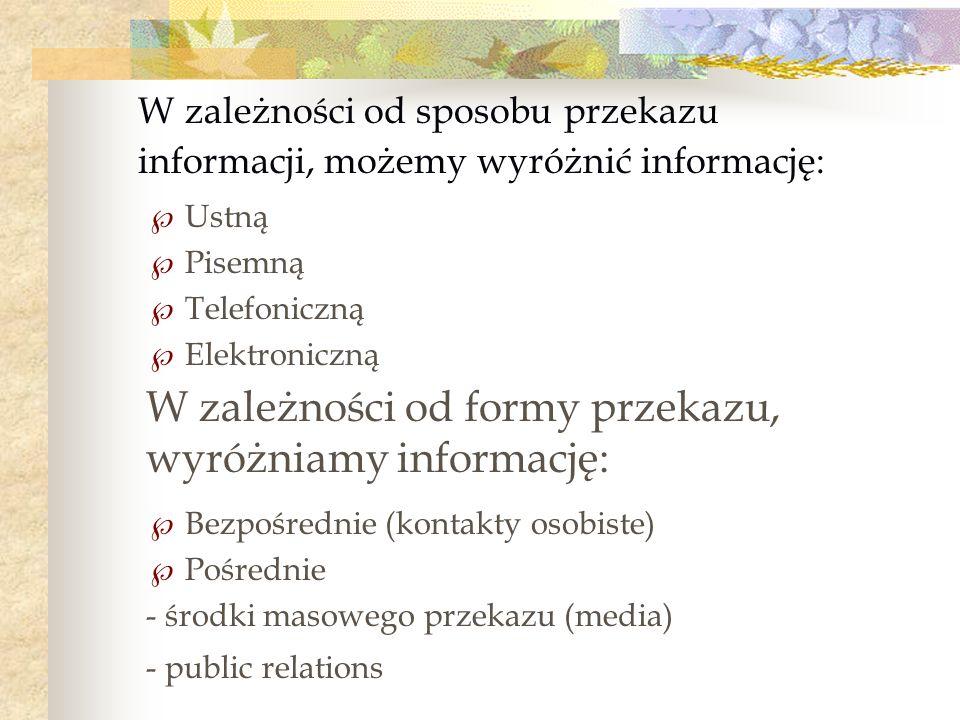 Ustną Pisemną Telefoniczną Elektroniczną Bezpośrednie (kontakty osobiste) Pośrednie - środki masowego przekazu (media) - public relations W zależności