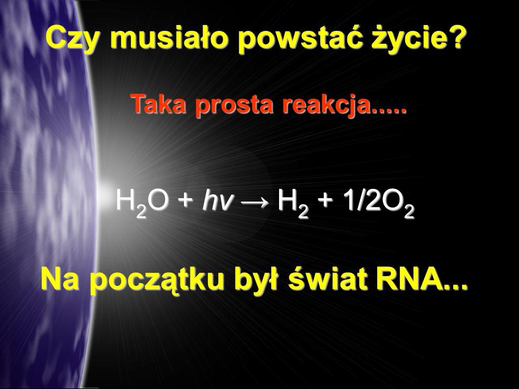 Czy musiało powstać życie? Taka prosta reakcja..... H 2 O + hν H 2 + 1/2O 2 Na początku był świat RNA...
