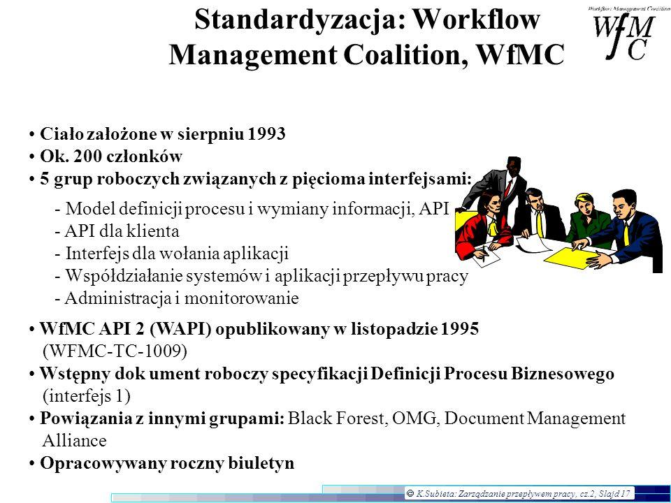 K.Subieta: Zarządzanie przepływem pracy, cz.2, Slajd 17 Standardyzacja: Workflow Management Coalition, WfMC Ciało założone w sierpniu 1993 Ok. 200 czł