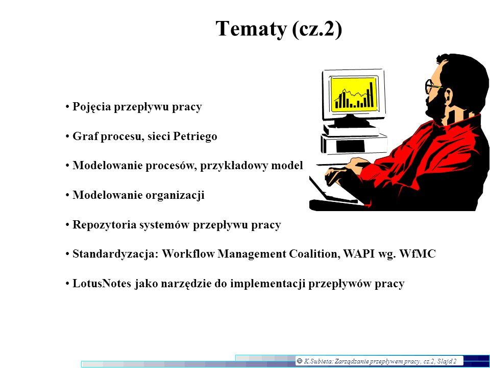 K.Subieta: Zarządzanie przepływem pracy, cz.2, Slajd 2 Tematy (cz.2) Pojęcia przepływu pracy Graf procesu, sieci Petriego Modelowanie procesów, przykł