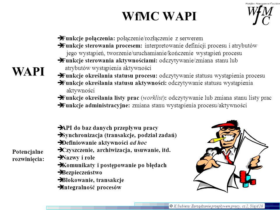K.Subieta: Zarządzanie przepływem pracy, cz.2, Slajd 20 WfMC WAPI Funkcje połączenia: połączenie/rozłączenie z serwerem Funkcje sterowania procesem: i