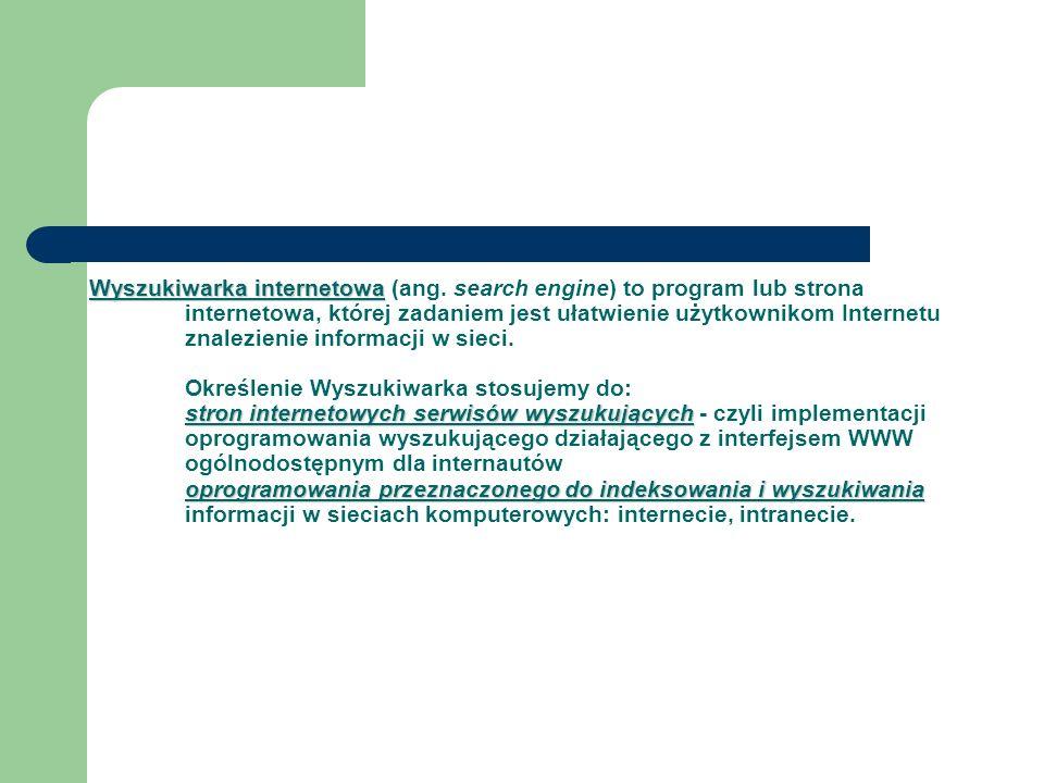 Wyszukiwarka internetowa stron internetowych serwisów wyszukujących oprogramowania przeznaczonego do indeksowania i wyszukiwania Wyszukiwarka internet