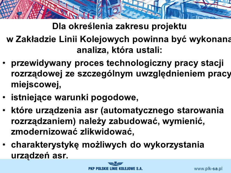 www.plk-sa.pl Dla określenia zakresu projektu w Zakładzie Linii Kolejowych powinna być wykonana analiza, która ustali: przewidywany proces technologic
