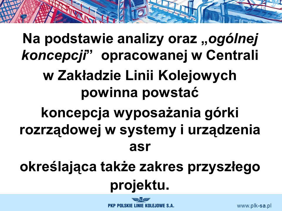 www.plk-sa.pl Na podstawie analizy oraz ogólnej koncepcji opracowanej w Centrali w Zakładzie Linii Kolejowych powinna powstać koncepcja wyposażania gó