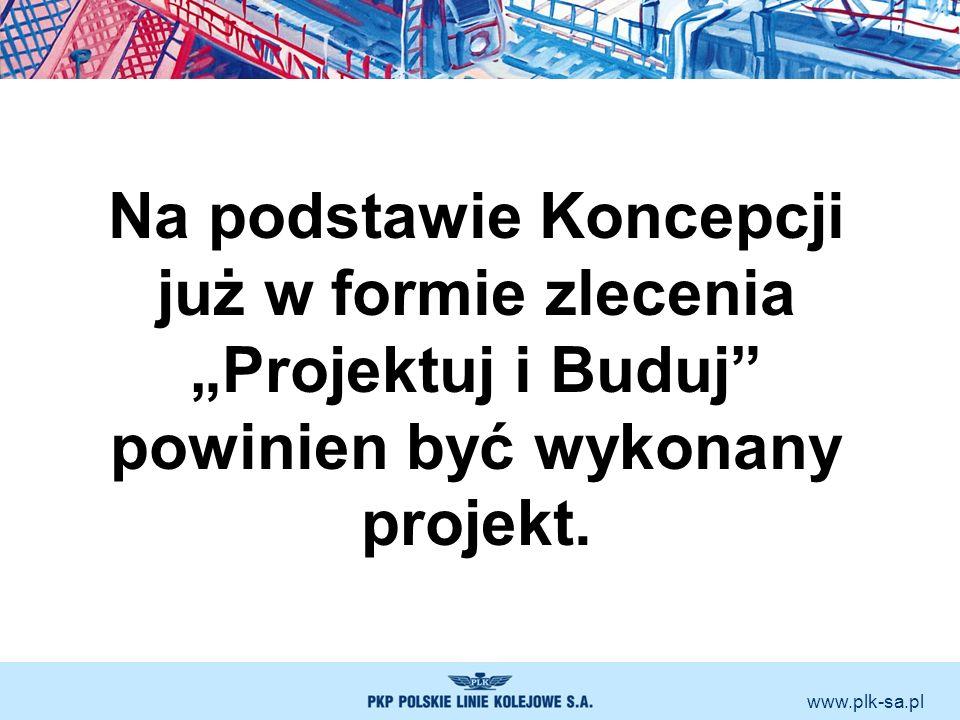 www.plk-sa.pl Na podstawie Koncepcji już w formie zlecenia Projektuj i Buduj powinien być wykonany projekt.