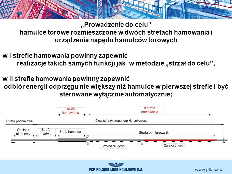 www.plk-sa.pl Prowadzenie do celu hamulce torowe rozmieszczone w dwóch strefach hamowania i urządzenia napędu hamulców torowych w I strefie hamowania
