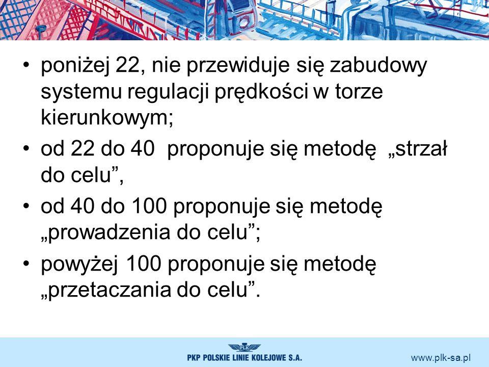 www.plk-sa.pl poniżej 22, nie przewiduje się zabudowy systemu regulacji prędkości w torze kierunkowym; od 22 do 40 proponuje się metodę strzał do celu