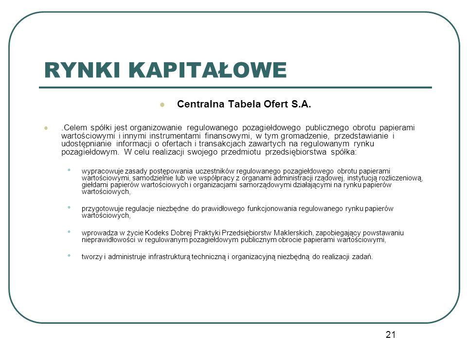 21 RYNKI KAPITAŁOWE Centralna Tabela Ofert S.A..Celem spółki jest organizowanie regulowanego pozagiełdowego publicznego obrotu papierami wartościowymi