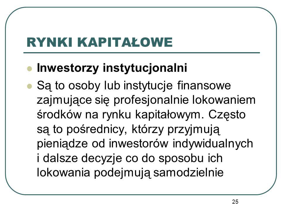 25 RYNKI KAPITAŁOWE Inwestorzy instytucjonalni Są to osoby lub instytucje finansowe zajmujące się profesjonalnie lokowaniem środków na rynku kapitałow