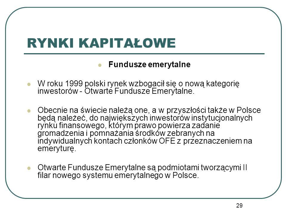 29 RYNKI KAPITAŁOWE Fundusze emerytalne W roku 1999 polski rynek wzbogacił się o nową kategorię inwestorów - Otwarte Fundusze Emerytalne. Obecnie na ś