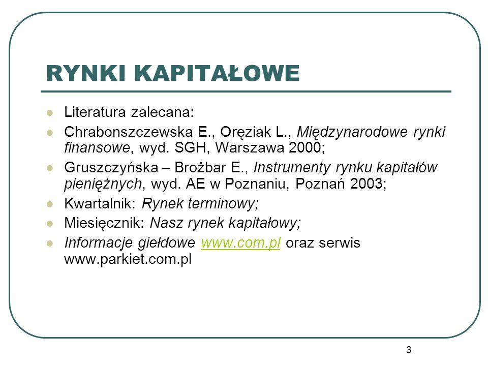 3 RYNKI KAPITAŁOWE Literatura zalecana: Chrabonszczewska E., Oręziak L., Międzynarodowe rynki finansowe, wyd. SGH, Warszawa 2000; Gruszczyńska – Brożb