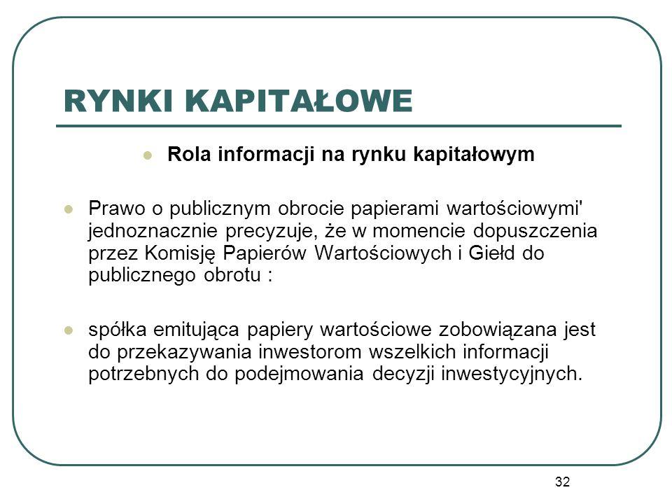 32 RYNKI KAPITAŁOWE Rola informacji na rynku kapitałowym Prawo o publicznym obrocie papierami wartościowymi' jednoznacznie precyzuje, że w momencie do
