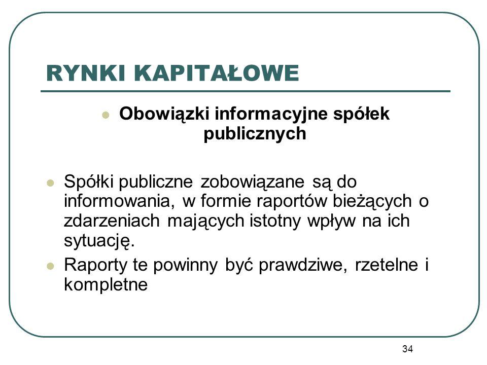 34 RYNKI KAPITAŁOWE Obowiązki informacyjne spółek publicznych Spółki publiczne zobowiązane są do informowania, w formie raportów bieżących o zdarzenia