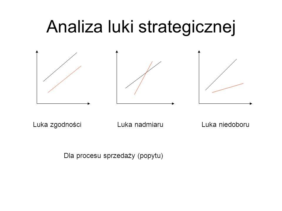 Analiza luki strategicznej Luka zgodnościLuka nadmiaruLuka niedoboru Dla procesu sprzedaży (popytu)