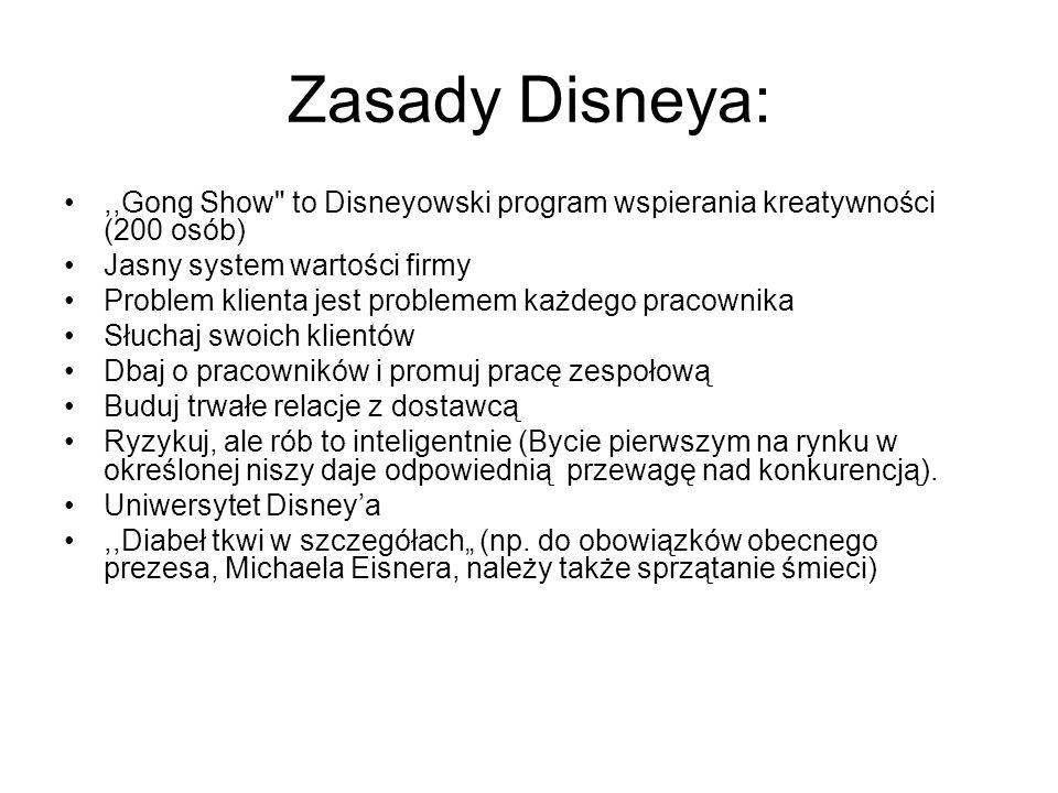Zasady Disneya:,,Gong Show
