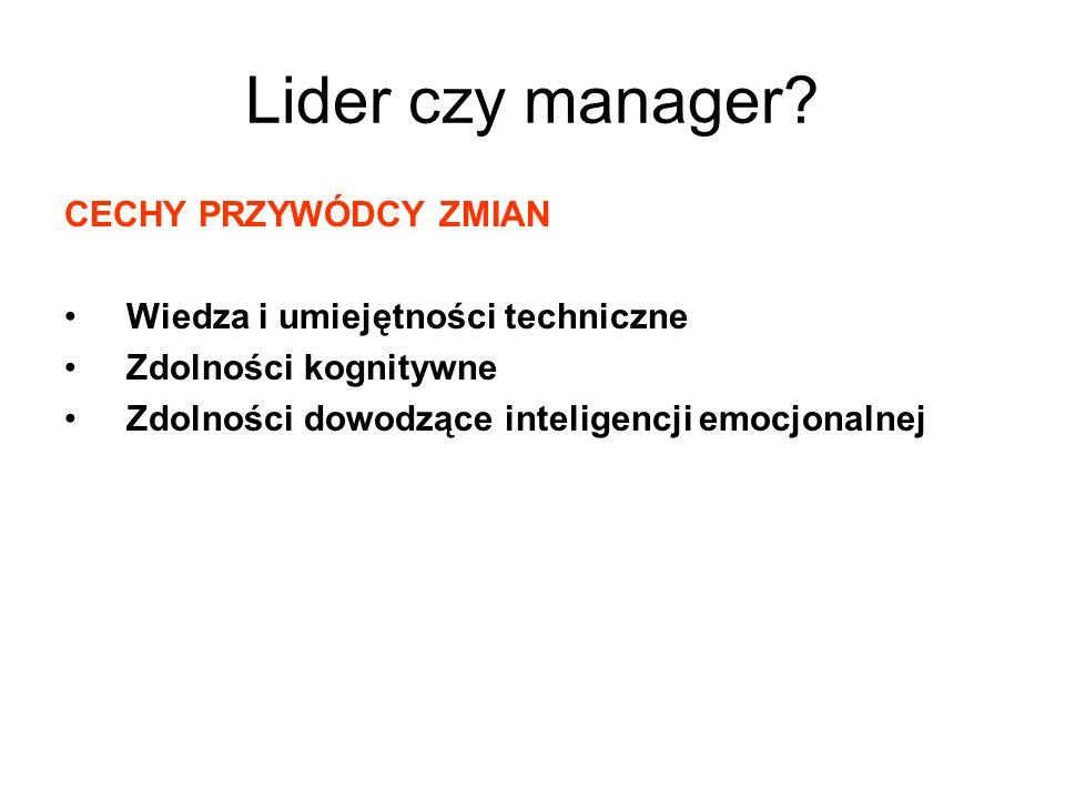 Lider czy manager? CECHY PRZYWÓDCY ZMIAN Wiedza i umiejętności techniczne Zdolności kognitywne Zdolności dowodzące inteligencji emocjonalnej
