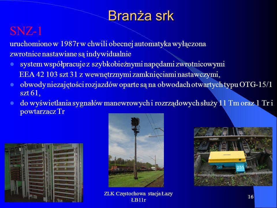 ZLK Częstochowa stacja Łazy ŁB11r 16 Branża srk SNZ-1 uruchomiono w 1987r w chwili obecnej automatyka wyłączona zwrotnice nastawiane są indywidualnie