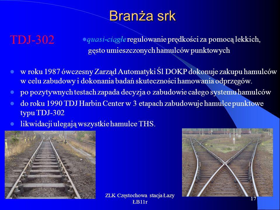 ZLK Częstochowa stacja Łazy ŁB11r 17 Branża srk TDJ-302 w roku 1987 ówczesny Zarząd Automatyki Śl DOKP dokonuje zakupu hamulców w celu zabudowy i doko