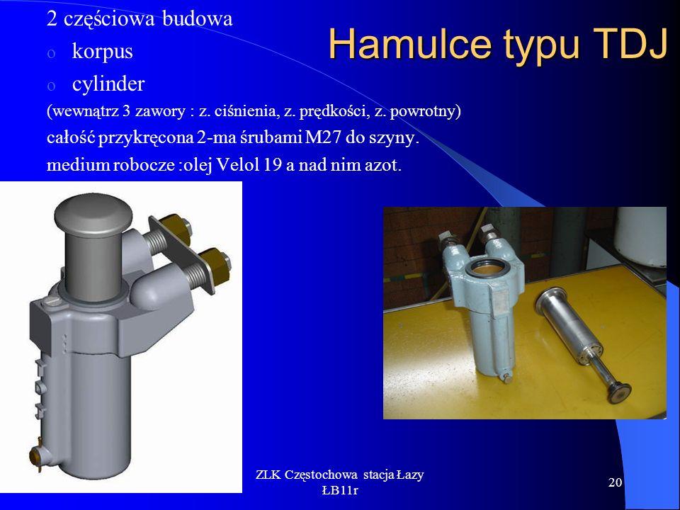 ZLK Częstochowa stacja Łazy ŁB11r 20 Hamulce typu TDJ 2 częściowa budowa o korpus o cylinder (wewnątrz 3 zawory : z. ciśnienia, z. prędkości, z. powro