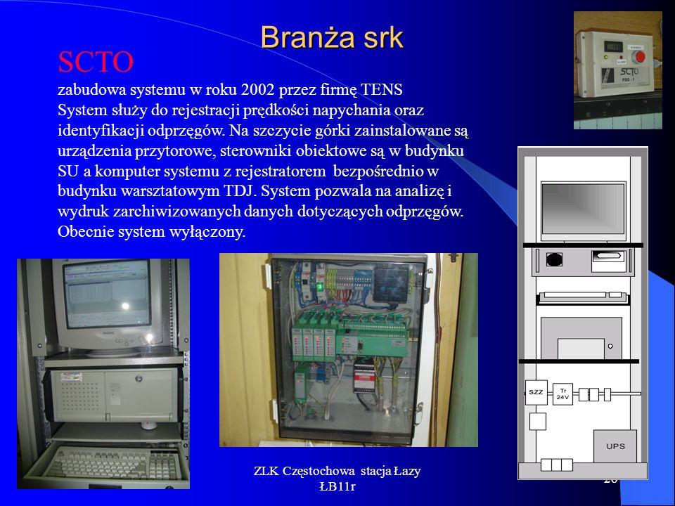 ZLK Częstochowa stacja Łazy ŁB11r 26 Branża srk SCTO zabudowa systemu w roku 2002 przez firmę TENS System służy do rejestracji prędkości napychania or
