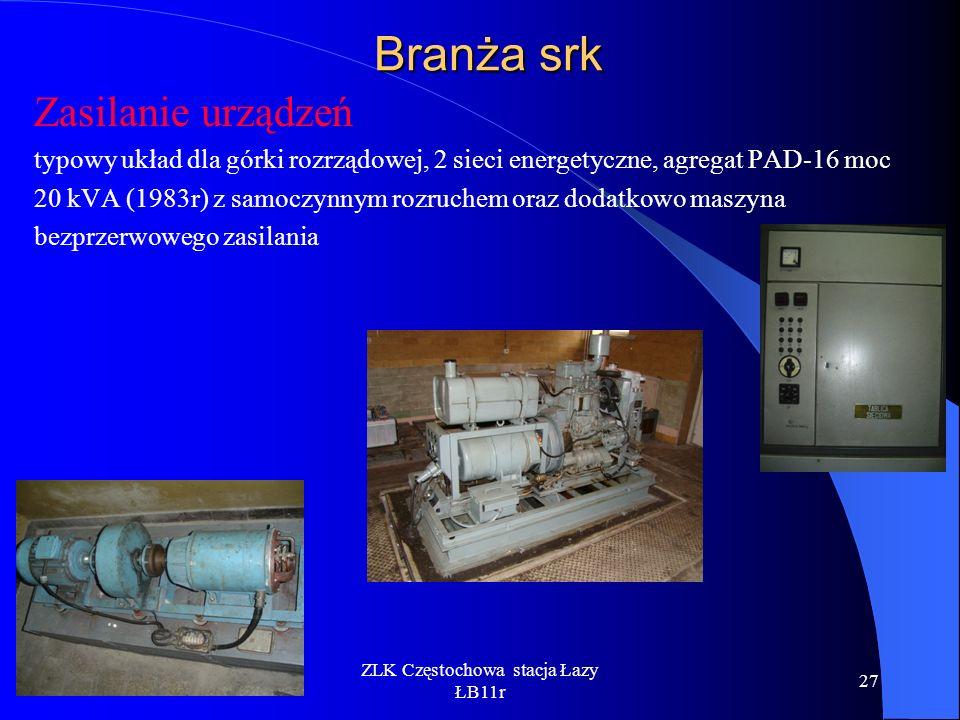 ZLK Częstochowa stacja Łazy ŁB11r 27 Branża srk Zasilanie urządzeń typowy układ dla górki rozrządowej, 2 sieci energetyczne, agregat PAD-16 moc 20 kVA