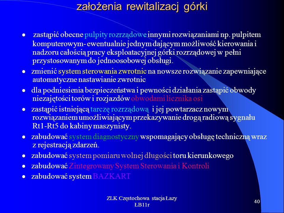 ZLK Częstochowa stacja Łazy ŁB11r 40 założenia rewitalizacj górki zastąpić obecne pulpity rozrządowe innymi rozwiązaniami np. pulpitem komputerowym- e