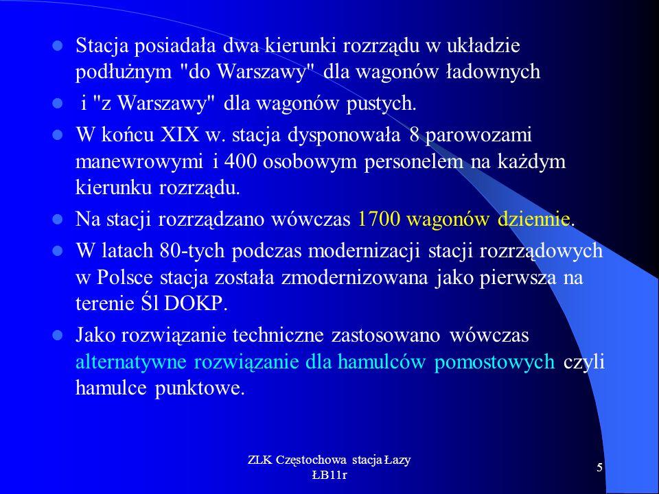 ZLK Częstochowa stacja Łazy ŁB11r 26 Branża srk SCTO zabudowa systemu w roku 2002 przez firmę TENS System służy do rejestracji prędkości napychania oraz identyfikacji odprzęgów.